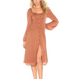 Tularosa Jodie Printed Button Front Copper Dress